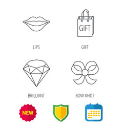 Lips kiss brilliant and gift icons vector