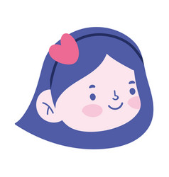 Little girl face cartoon character isolated icon vector