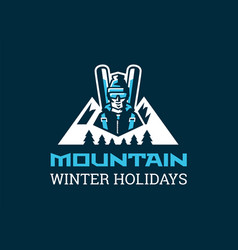 logo for the ski resort a skier in the background vector image