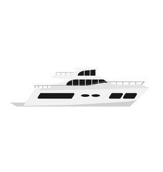luxury summer yacht flat color style vector image