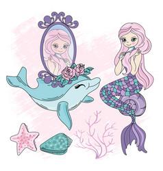 Mermaid eyes underwater fairy tropical vector