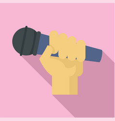 Microphone in hand icon flat style vector