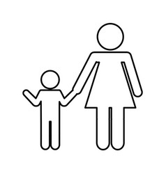 Mother with son silhouette isolated icon vector