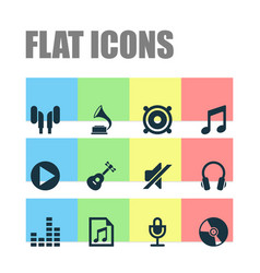 Music icons set collection of equalizer earmuff vector