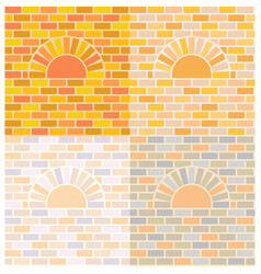 Oven and brick wall vector