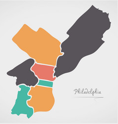 Philadelphia map with boroughs and modern round vector