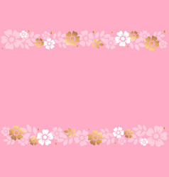 pink background with stripes of white flowers vector image
