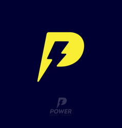 Power logo p letter and lightning on dark bac vector