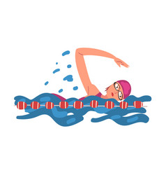 Professional sportswoman character swimming in a vector
