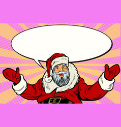 promoter santa claus with comic bubble vector image
