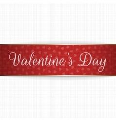 Realistic greeting Valentines Day Ribbon vector