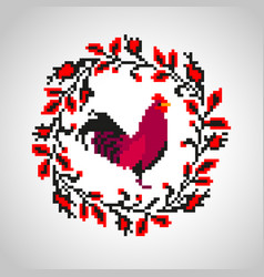 Red fire rooster embroidery vector