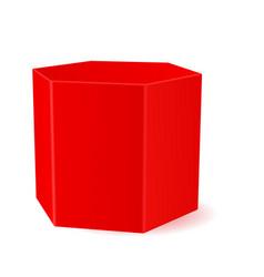 Red hexagonal prism 3d geometric shape vector