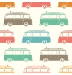 Retro camper van with surfing board seamless vector