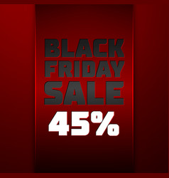 Ribbon with black friday sale forty five percent vector