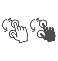 Rotate with two fingers line and glyph icon swipe vector