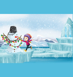 scene with kid and snowman on ice vector image