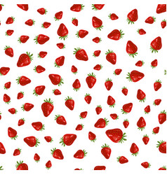 seamles strawberry pattern on white background vector image