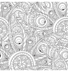 Seamless floral pattern in white and black colors vector image