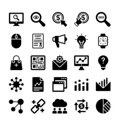 Seo and digital marketing glyph icons 9 vector
