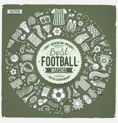 Set cartoon doodle football objects vector