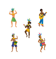 Set men dancers and musician with traditional vector