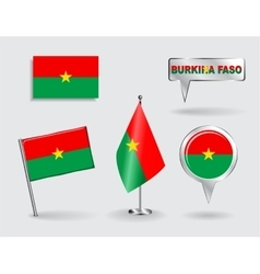 Set of Burkina Faso pin icon and map pointer vector image