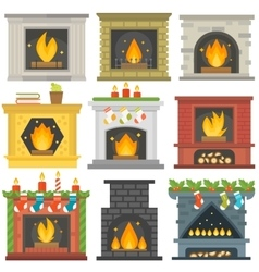 Set of fireplace icons vector