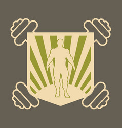 shield with dumbbells bodybuilding coat of arms vector image