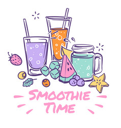 Smoothie background detox drink summer cocktail vector