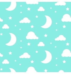 Starlight night blue seamless pattern vector image