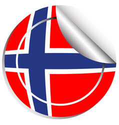 sticker design for norway flag vector image