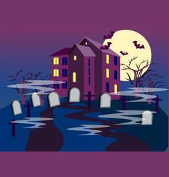 The building cemetery graves on a dark vector