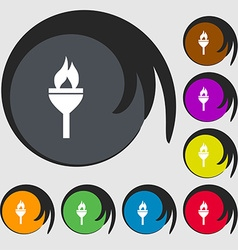 Torch icon sign Symbols on eight colored buttons vector image