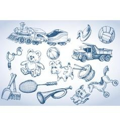 Toys set hand drawings vector image