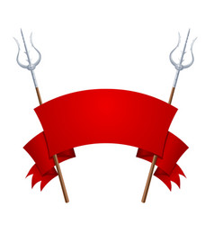 two fantastic tridents with a red banner on a vector image