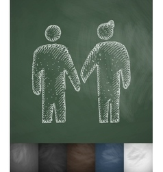 Two people icon Hand drawn vector