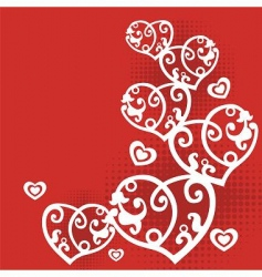 vector postcard with hearts vector image