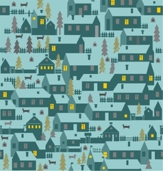 Village is a one-story houses fences firs dogs vector