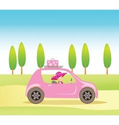 vintage girl in car vector image