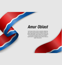 Waving ribbon or banner with flag region russia vector