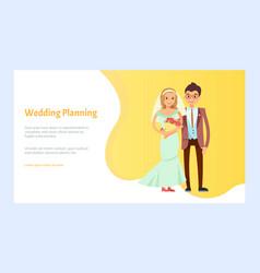Wedding planning bride and groom engagement vector