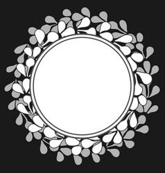white laurel wreath frame on black background vector image