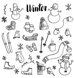 winter doodle set vector image