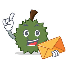 With envelope durian character cartoon style vector