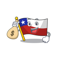 With money bag flag chile cartoon in character vector