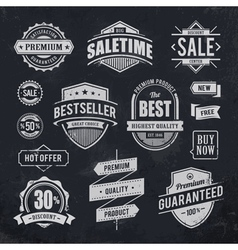 Chalk drawn sale emblems vector image vector image