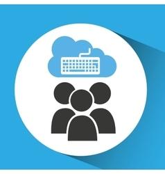 cloud connection social media keyboard vector image