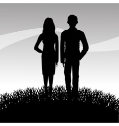 Grass plant and people silhouette design vector image
