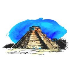 hand colored drawing maya pyramid vector image vector image